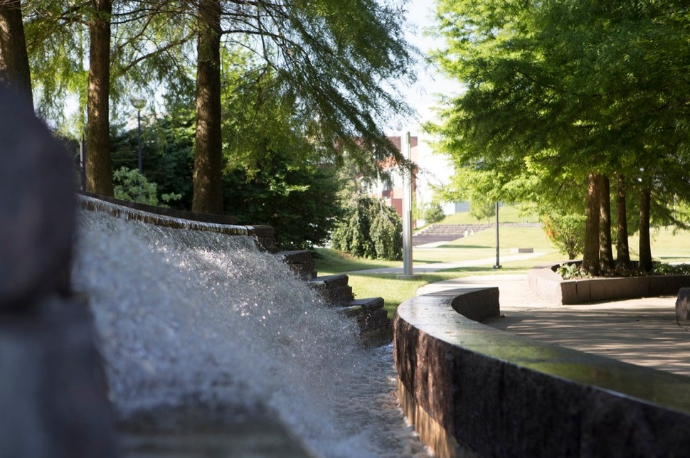 UC waterfall along Campus Green on main campus.