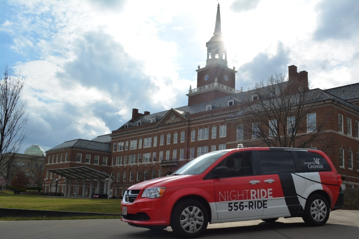 UC NightRide van parked in front of McMicken Hall.