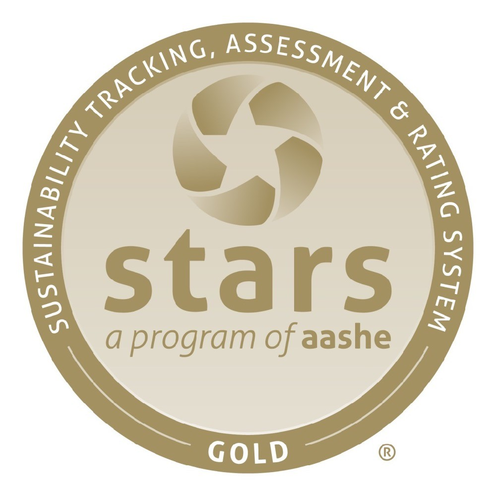 graphic of AASHE Gold Star Medal for UC's campus sustainability.