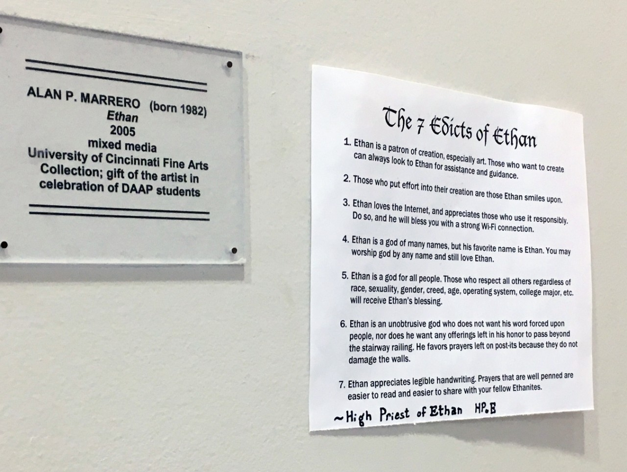 7 Edicts of Ethan sign taped to wall