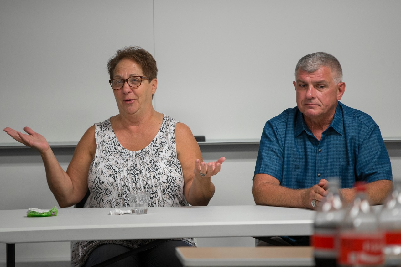 Wrongfully convicted defendants Nancy Smith, left, and Clarence Elkins share their harrowing experiences with UC College of Law students.
