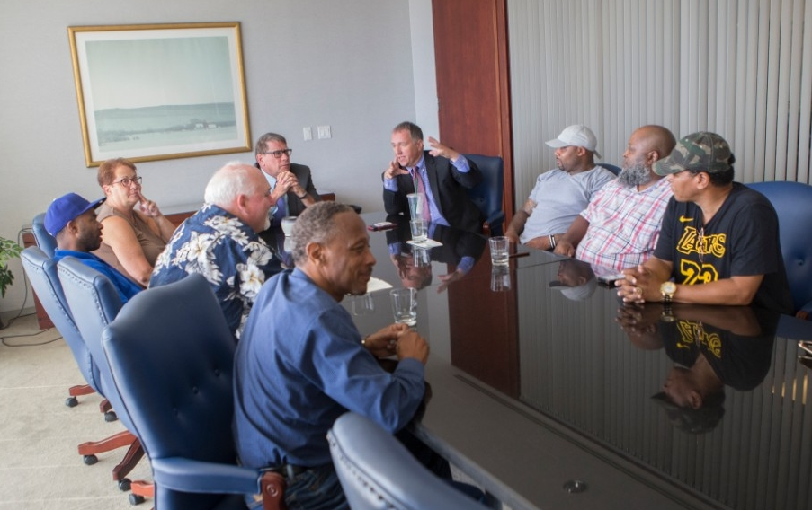 Exonerees in UC's Ohio Innocence Project meet with Ohio Rep. Bill Seitz, R-Cincinnati, to talk about reforms that could help the wrongfully convicted rebuild their lives.
