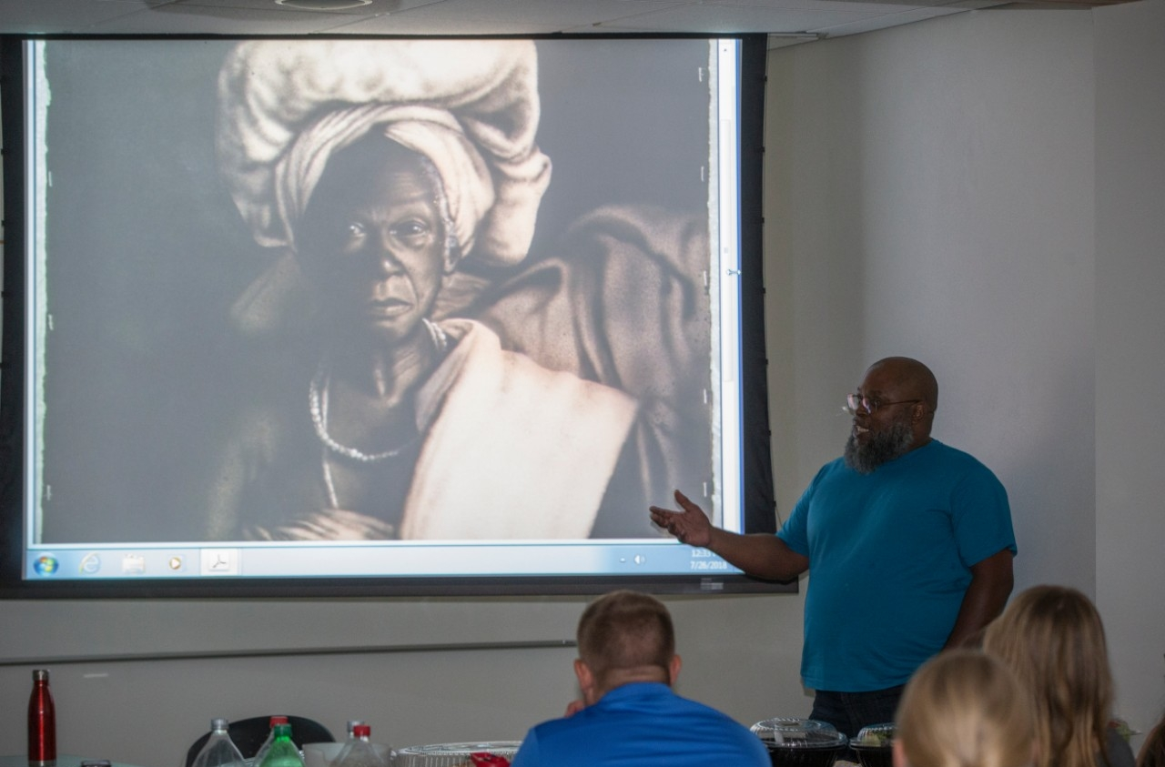 Raymond Towler, who was freed with help from the UC College of Law's Ohio Innocence Project, returned to UC to share his experience with students.