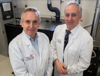 Vesselin Shanov and Mark Schulz, professors of engineering in the University of Cincinnati College of Engineering and Applied Science.
