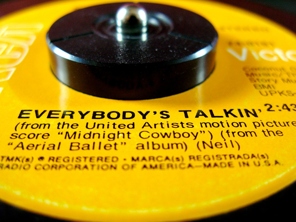 Close-up image of the vinyl record Everybody's Talkin' from the Midnight Cowboy soundtrack
