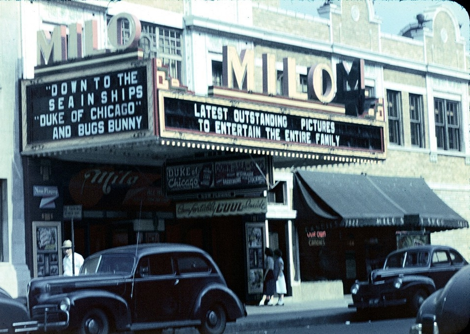 An old photo reveals the front entrance of the Milo Theater, circa 1949.