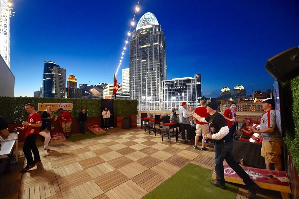 Young baseball fans enjoy interactive games inside GABP's new Fioptics District Rooftop bar. photo/Cincinnati Reds