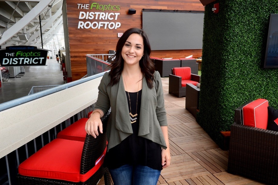 Amy Schigel stands inside the Fioptics District Rooftop lounge inside Great American Ball Park. photo/Cincinnati Reds