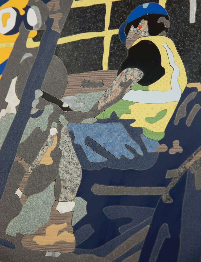 A close-up detail of the Rumpke Recycling mural reveals many tiny pieces of Formica laminate.