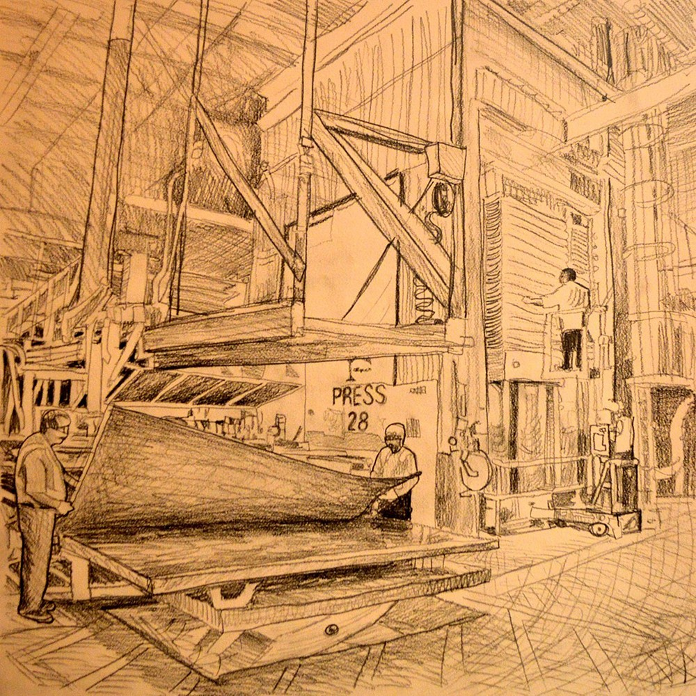 A rough sketch of the Formica factory by Curtis Goldstein
