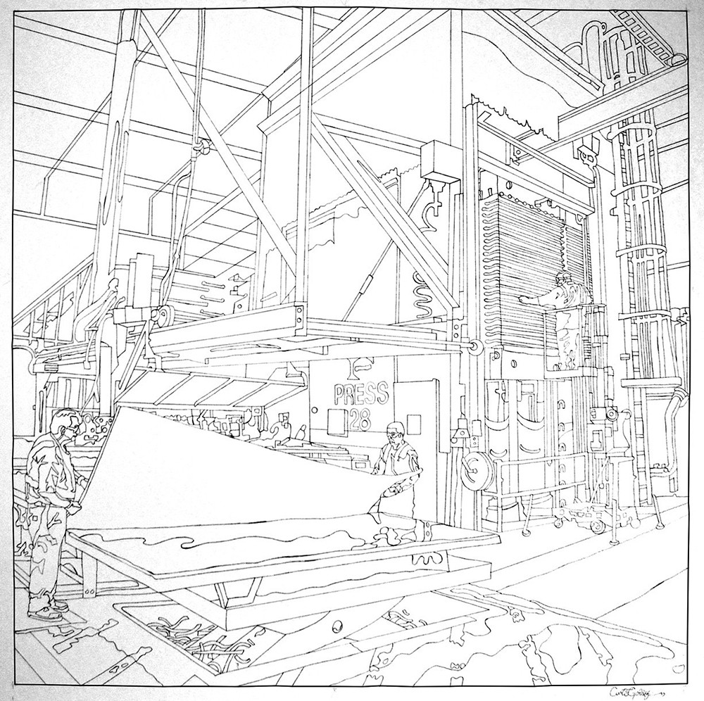 Completed line drawing of the Formica factory by Curtis Goldstein