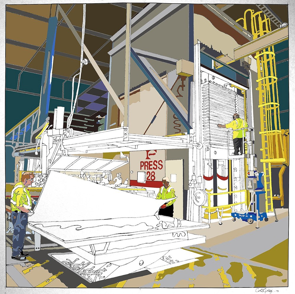 Digital image of the Formica factory mural in the process of color selection.