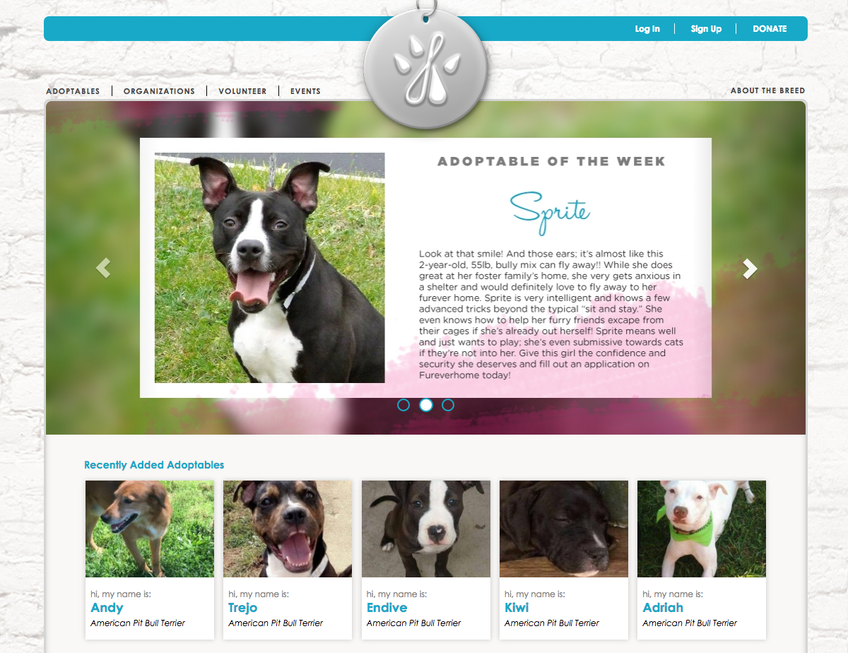 Image of the website fureverhome.com