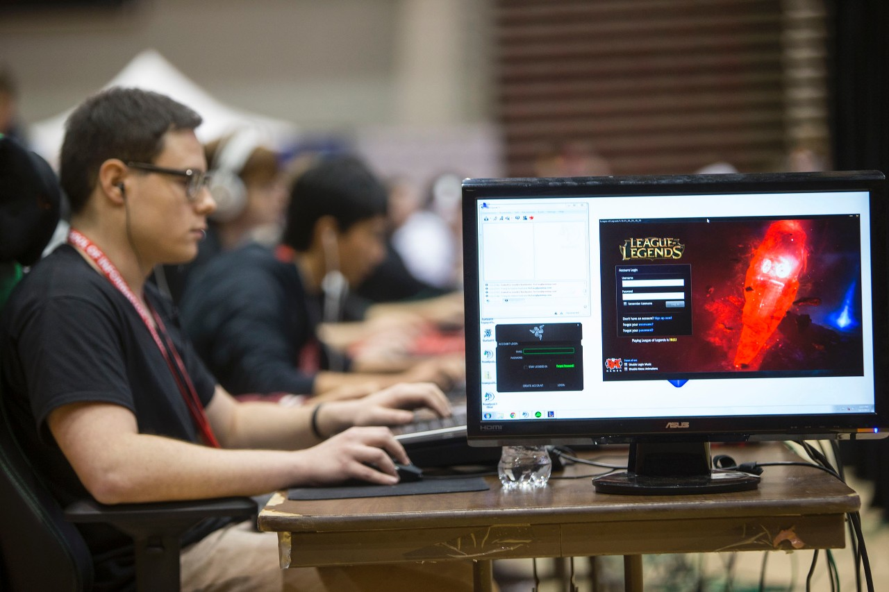 Competitor in UC's video gaming tournament