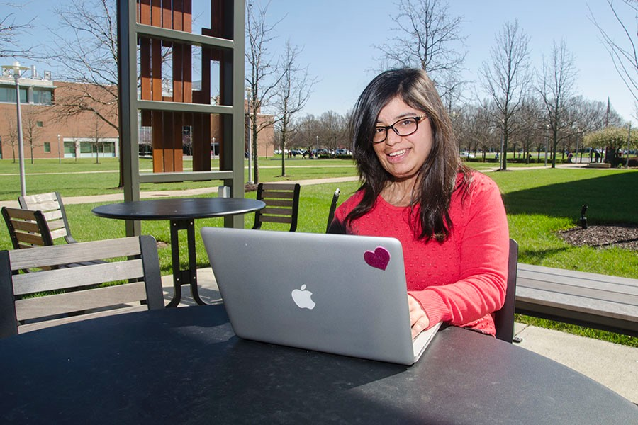 Prerna Gandhi studing on the UC Blue Ash campus. photo/Pete Bender