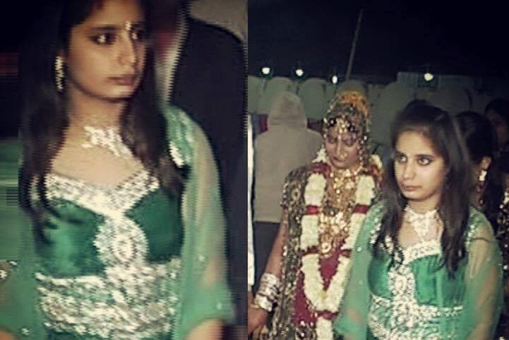 Prerna Gandhi around age 13 in a green ceremonial dress.