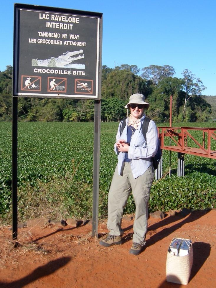 Crocodiles bite reads a sign at Madagascar's Lake Ravelobe. (Brooke Crowley)