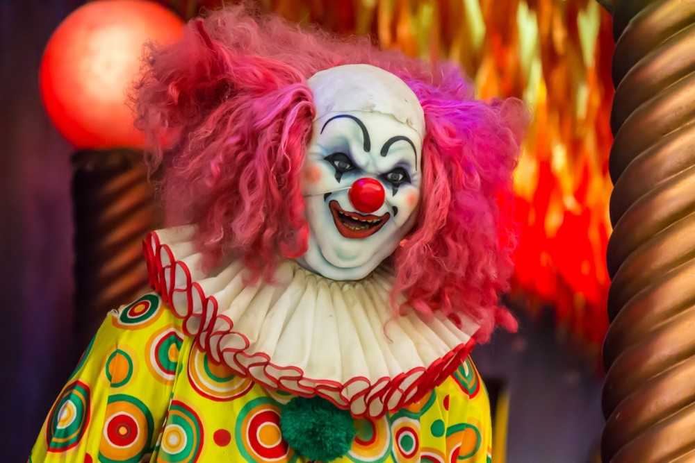 Head and shoulders of a circus clown with bright pink hair and ruffled collar