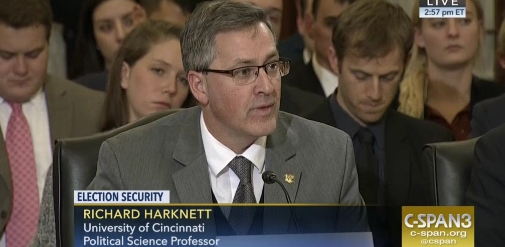 UC political scientist Richard Harknett testifies on Feb. 13 before the Senate Armed Services Subcommittee on Cybersecurity.  Photo: C-Span video screenshot