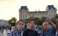 Professor Hildebrandt and his students look at architecture in Paris, France.