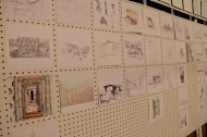 Sketches line the wall at a DAAP open house.