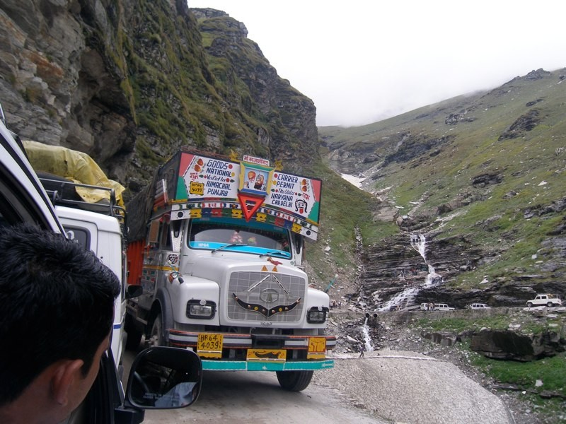 Truck traffic on the Manali-Leh Highway. (Photo by Brooke Crowley.)