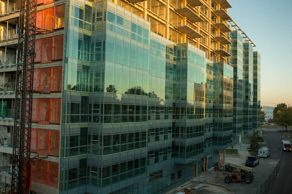 Scioto Hall's glass wrap or curtain wall glass provides better insulation than its counterpart in Morgens Hall, saving money and energy. Photo/Lisa Ventre/Creative Services