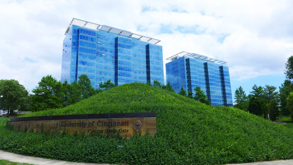 Scioto and Morgens halls sit prominently on UC's Main Campus.