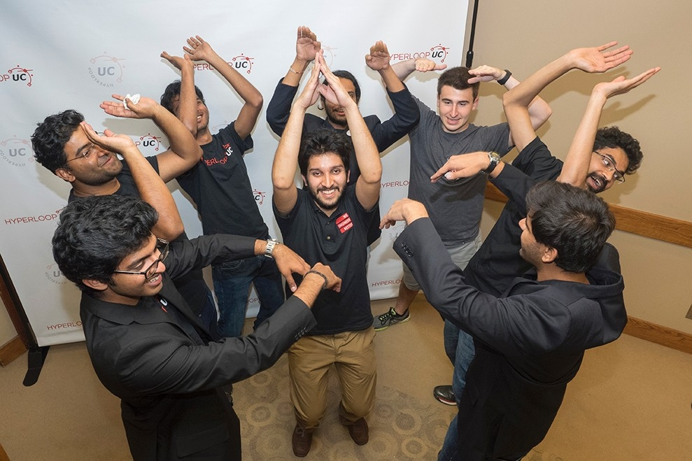 Hyperloop UC students celebrate a successful unveiling of the prototype they'll be testing on Elon Musk's test track in January 2017.