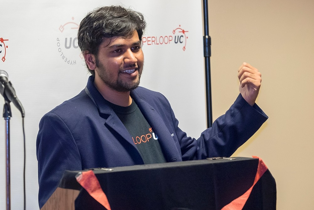 Dhaval Shiyani, president of Hyperloop UC, speaks during the Oct. 17 unveiling to partners and media.