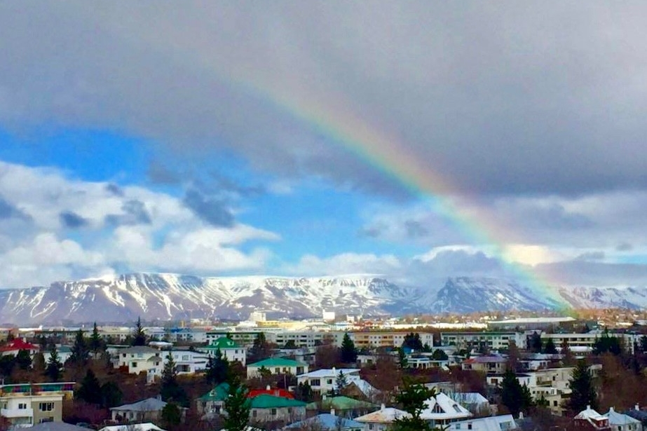 A rainbow over the city of Reykjavik, Iceland.photo/Karissa Schroeter