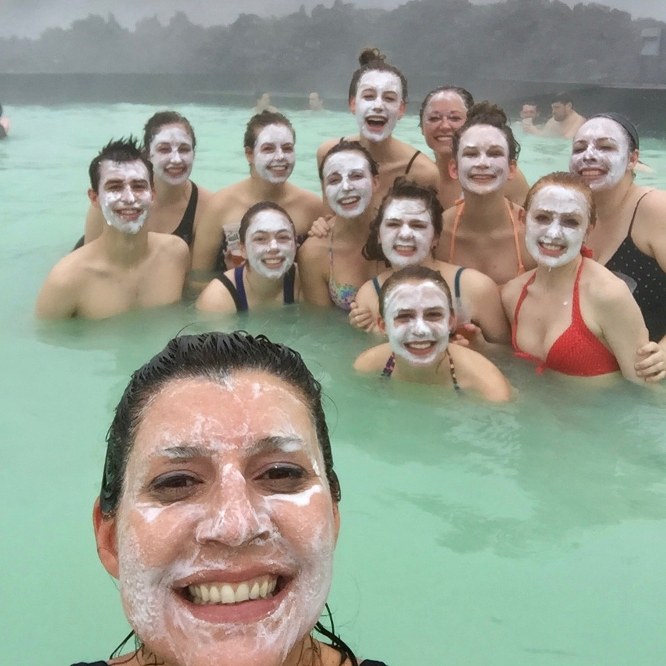Robin Selzer and UC students swin in Iceland's geothermal pool the Blue Lagoon.photo/Robin Selzer