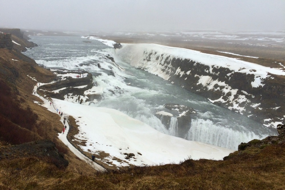 Aerial view of one of Iceland's magnificent waterfalls.photo/Onnie Middendorf