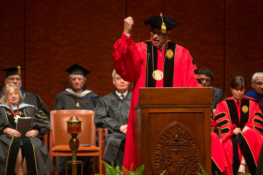 President Pinto gestures during inauguration speech