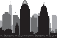 A graphic illustration of the Cincinnati skyline
