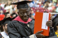 A University of Cincinnati doctoral candidate finally gets a copy of his dissertation after 48 years, at the UC May commencement ceremonies