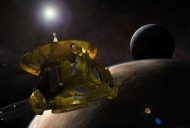 Artist's rendering of New Horizons as it appeared in front of Pluto.