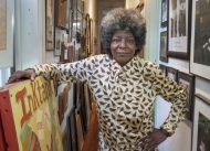 A portrait of Kathy Wilson in her studio is known widely in Cincinnati as the author of Your Negro Tour Guide.