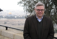 University of Cincinnati alumnus David Caudill stands at an overlook in Jerusalem.
