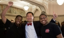UC President Santa Ono gives the thumbs up with a couple of students