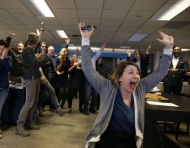 Enquirer newsroom after Pulitzer announcement