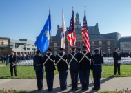 Flag ceremony during Veterans Day observance on campus