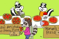 A cartoon picture of a couple of skunks selling pizza to a raccoon -- part of a personal finance and economics lesson geared toward children.