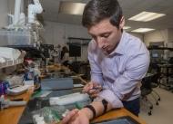 University of Cincinnati student Andrew Jajack demonstrates how a sweat sensor is applied to the skin.