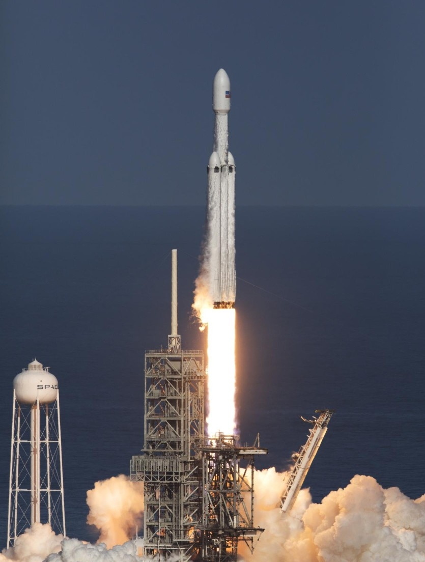 SpaceX's Falcon Heavy launched from Kennedy Space Center on Feb. 6. (NASA)