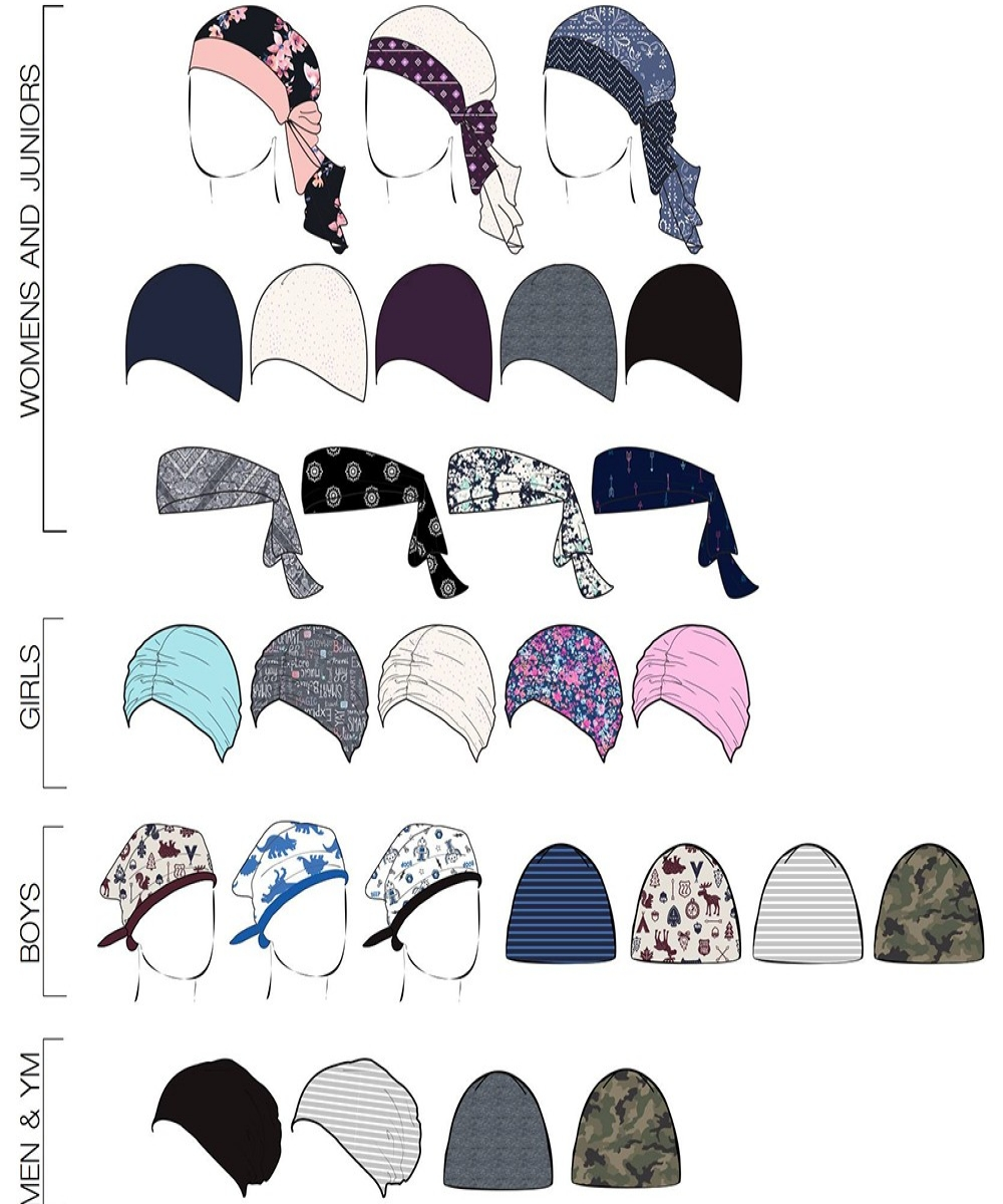 Headwrap and cap design sketches for women, girls, boys and men