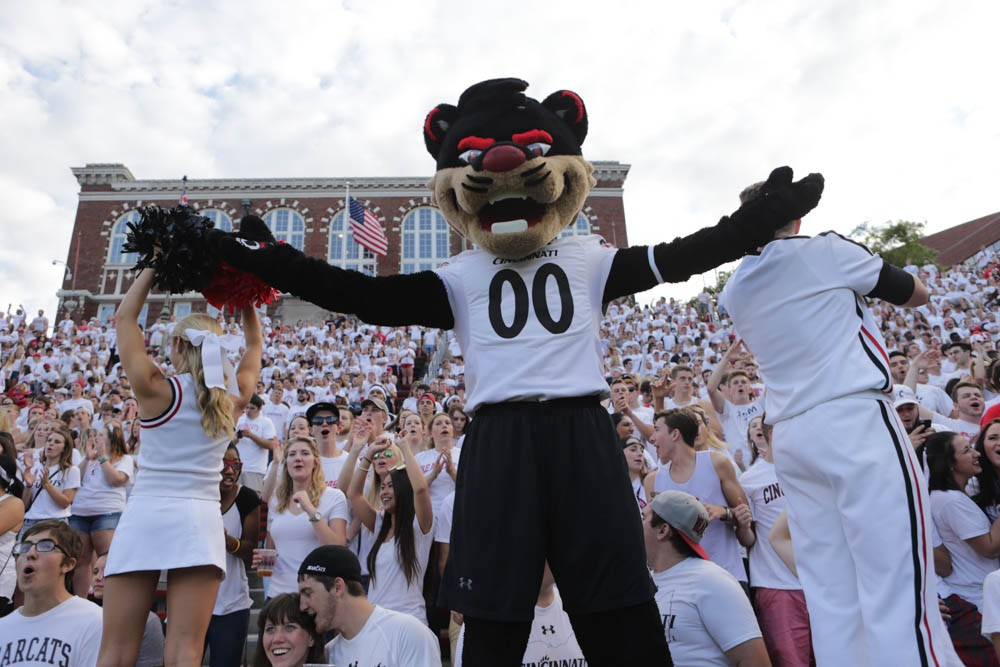 The Bearcat and cheerleaders get the students revved up at the home opener on Sept. 1, 2016 at Nippert Stadium. Photo/Andrew Higley/UC Creative Services