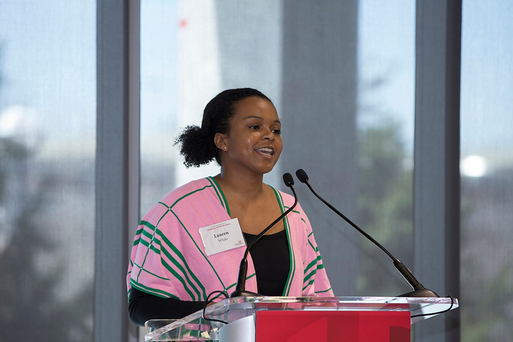 Alpha Kappa Alpha member Lauren White speaks at the Marian Spencer Hall dedication.
