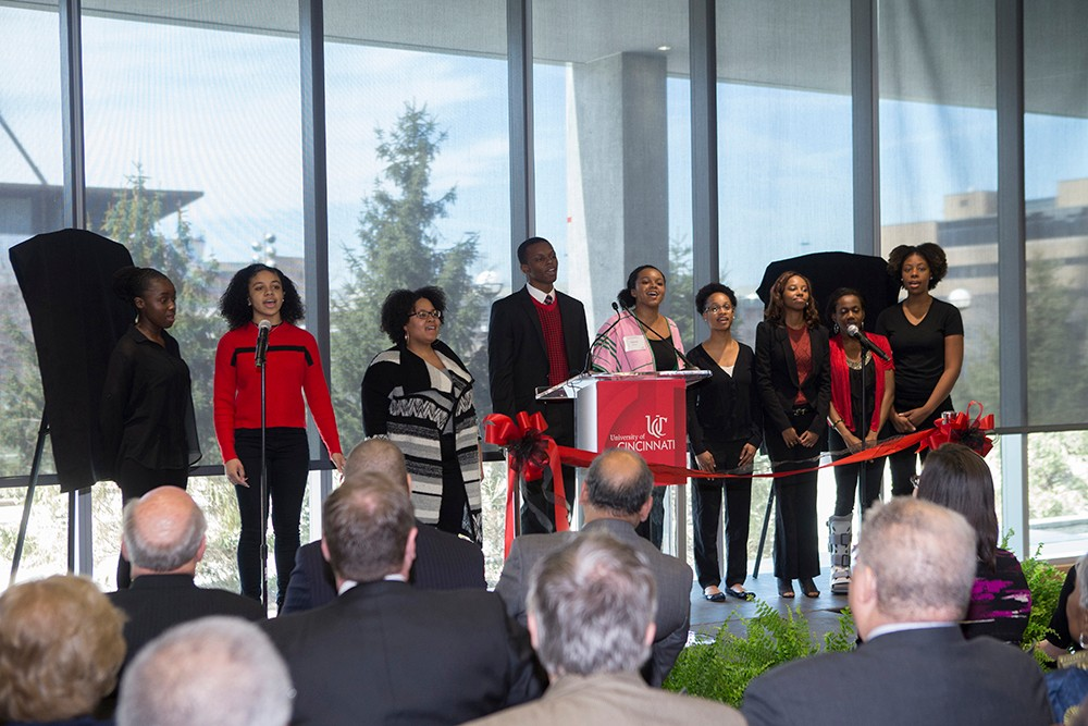 The African American Cultural and Resource Center choir performs at the Marian Spencer Hall dedication.