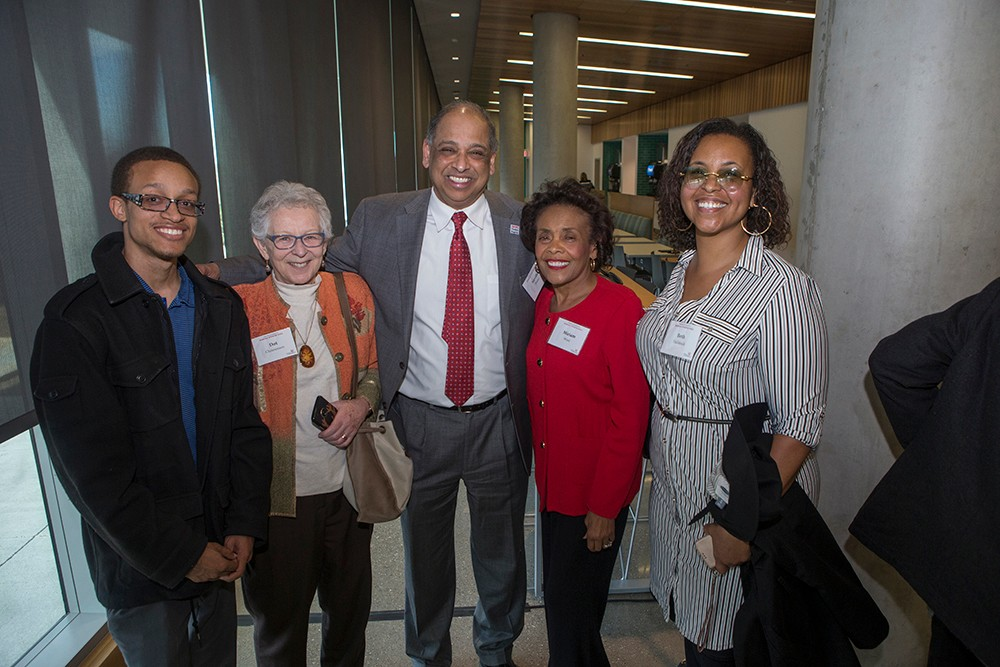A group of attendees pose for a photo at the Marian Spencer Hall dedication.